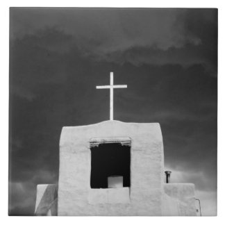 Cruce en la iglesia más vieja, San Miguel, Santa F Azulejo Cuadrado Grande
