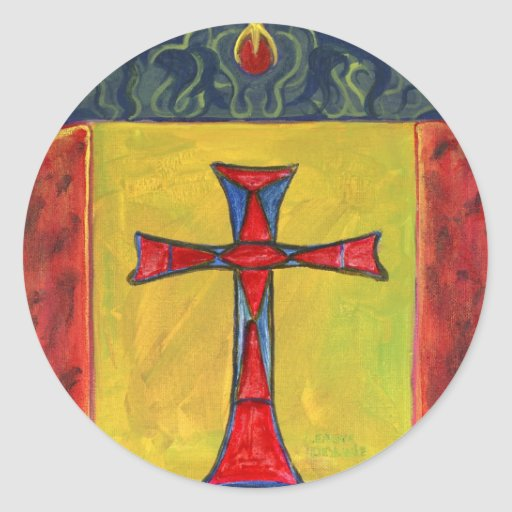 Cruce encima el diseño medieval de la cruz del pegatina redonda