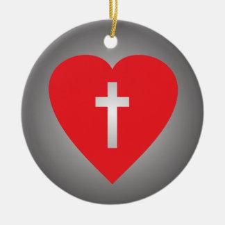 Cruce mi corazón adorno navideño redondo de cerámica