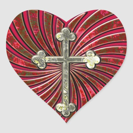 Cruce mi corazón calcomanías de corazones