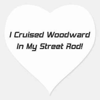 Crucé Woodward en mi calle Rod Pegatina En Forma De Corazón