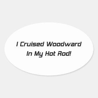 Crucé Woodward en mi coche de carreras Pegatina Ovalada