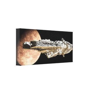 Crucero de batalla que sale de órbita lona estirada galerías