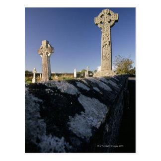 Cruces célticas en un cementerio, Davacliff, Tarjetas Postales
