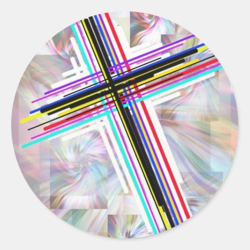 Cruces coloridas y los remolinos pegatina redonda