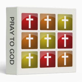 "Cruces cristianas coloridas carpeta 1 1/2"""