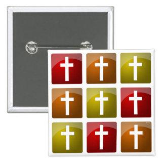 Cruces cristianas coloridas pin cuadrado