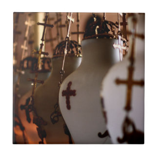 Cruces de la iglesia del sepulcro santo azulejo cuadrado pequeño