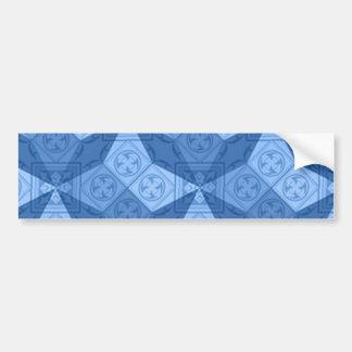 Cruces geométricas azules etiqueta de parachoque