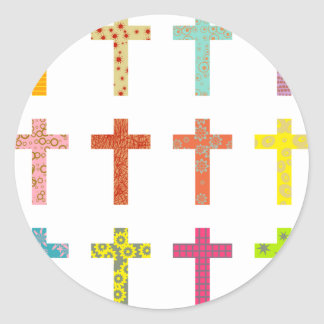 Cruces modeladas pegatina redonda