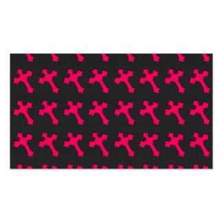 Cruces rosadas de neón brillantes en una tela negr tarjetas de visita