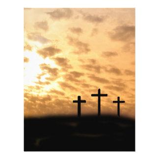 """Cruces y aviador de Pascua de la puesta del sol, p Folleto 8.5"""" X 11"""""""