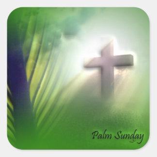 Cruces y escenas de Domingo de Pascua y de Ramos Pegatina Cuadrada