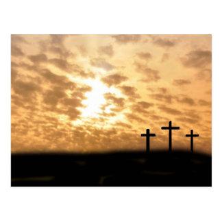 Cruces y postal de Pascua de la puesta del sol