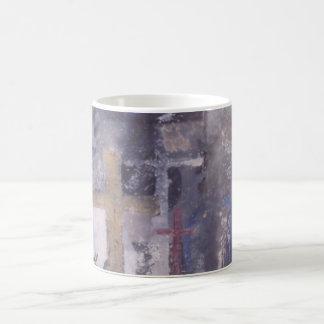 Cruces y taza cristiana del arte contemporáneo de
