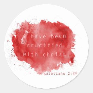 Crucificado con Cristo Pegatinas Redondas