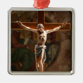 Crucification Square Metal Christmas Ornament