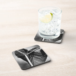 crucified heart beverage coaster