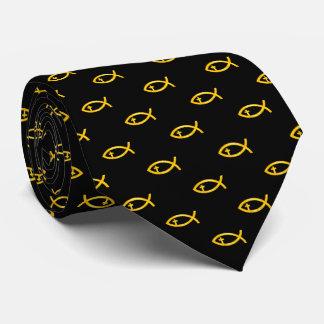 Crucifijo cristiano amarillo el | de los pescados corbata personalizada