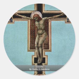 Crucifijo de Giotto Di Bondone Pegatina Redonda