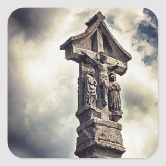 Crucifijo de piedra calcomania cuadradas personalizada