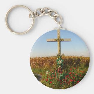 Crucifijo del borde del camino, Rumania Llavero Redondo Tipo Pin