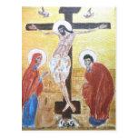crucifijo del icono 2 tarjeta postal