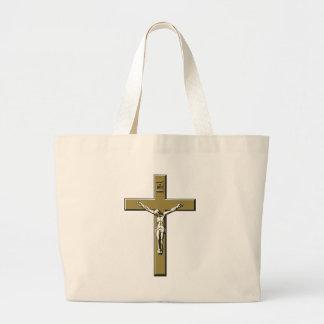 Crucifijo en bronce bolsa lienzo