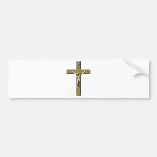 Crucifijo en bronce pegatina de parachoque