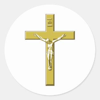 Crucifijo en oro pegatina redonda
