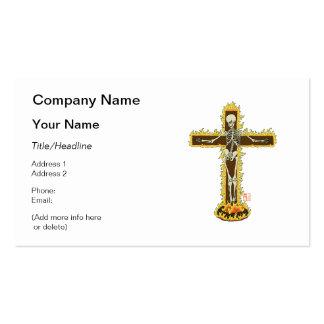 Crucifijo esquelético llameante en una pira tarjetas de visita