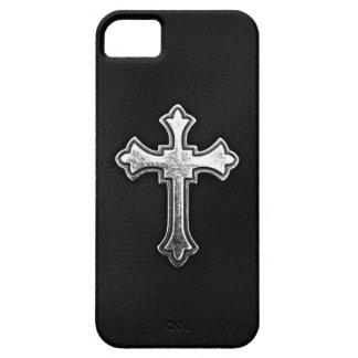 Crucifijo metálico en el cuero negro iPhone 5 Case-Mate protectores
