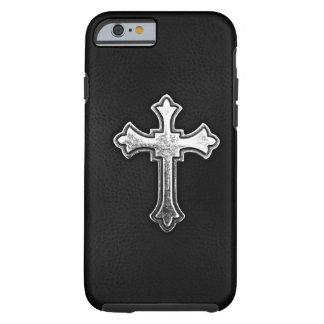 Crucifijo metálico en el cuero negro funda de iPhone 6 tough