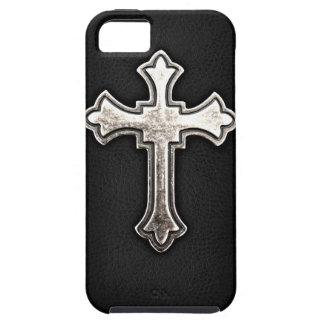 Crucifijo metálico en el cuero negro iPhone 5 Case-Mate fundas