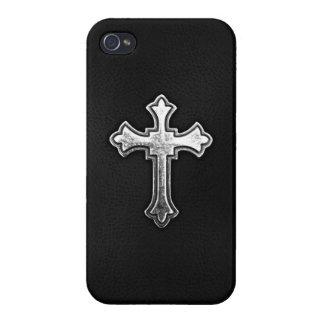 Crucifijo metálico en el cuero negro iPhone 4/4S fundas