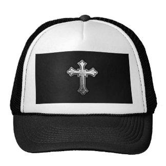 Crucifijo metálico en el cuero negro gorras