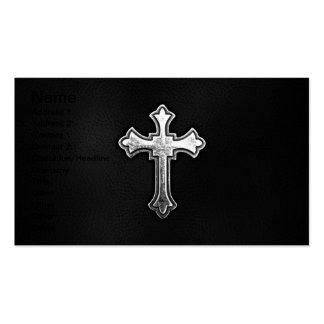 Crucifijo metálico en el cuero negro plantillas de tarjetas personales