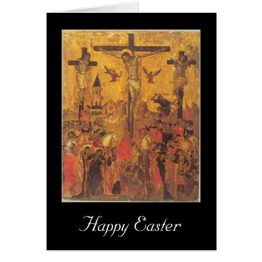 crucifijo pascua tarjeta de felicitación
