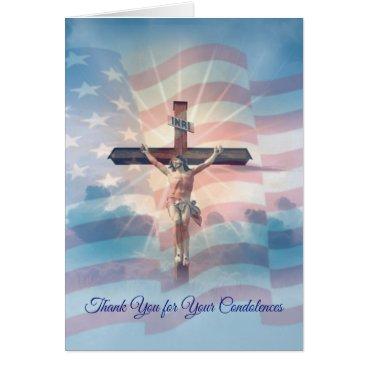 Crucifix American Flag Condolence Thank You