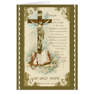 Crucifix Bible Rosary Prayer Gold Flowers lilies Card