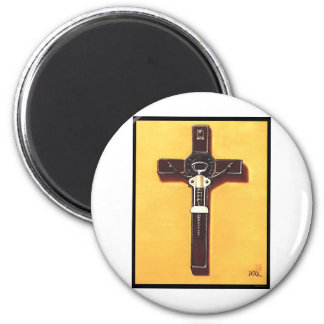 Crucifix Christian Painting 2 Inch Round Magnet