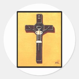 Crucifix Christian Painting Classic Round Sticker