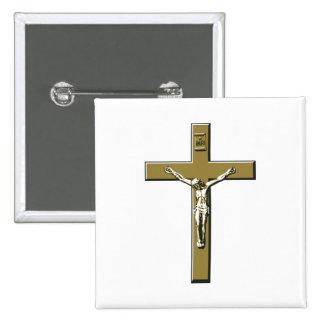 Crucifix in Bronze 2 Inch Square Button