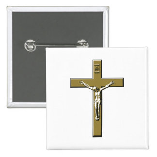 Crucifix in Bronze Pinback Button