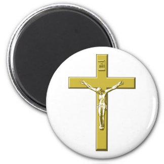 Crucifix in Gold 2 Inch Round Magnet