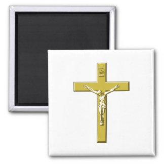 Crucifix in Gold 2 Inch Square Magnet