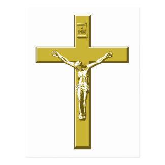 Crucifix in Gold Postcard