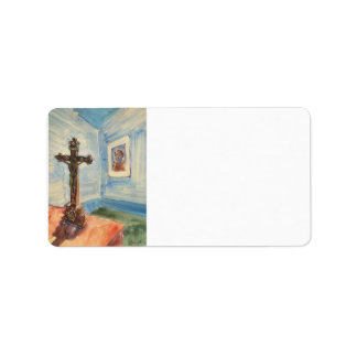 Crucifix in the room by Walter Gramatte Custom Address Label