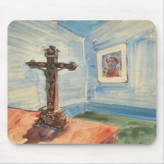 Crucifix in the room by Walter Gramatte Mouse Pads