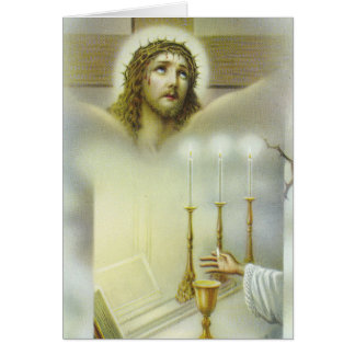 Crucifix Mass Offering Chalice Candles Priest Card